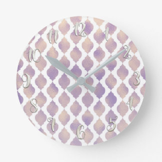 Purple Moroccan Chic Pretty Glam Pattern Round Clock