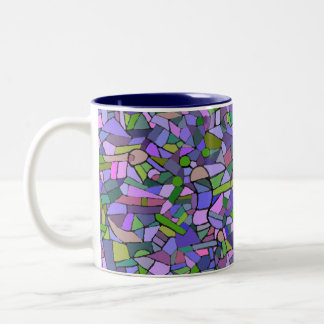 Purple Mosaic Abstract Two-Tone Coffee Mug