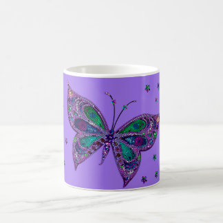 Purple Mosaic Butterfly Coffee Tea Cup Mug