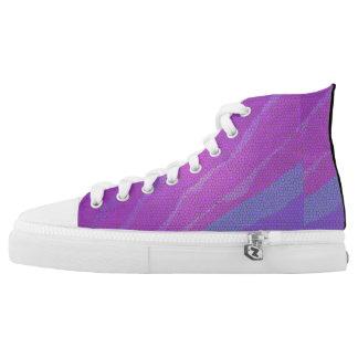 Purple mosaic printed shoes