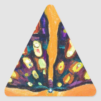 Purple Moth bug expressionism Triangle Sticker