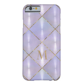 Purple Mother of Pearl with Gold Monogram Barely There iPhone 6 Case