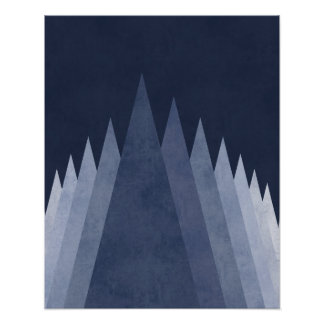 Purple mountains Modern minimal geometric art Poster
