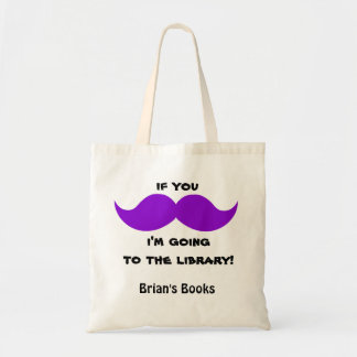 Purple Moustache Library Book Bag, add your name