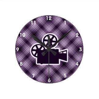 Purple Movie Camera Wall Clock