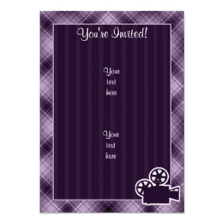 "Purple Movie Camera 5"" X 7"" Invitation Card"