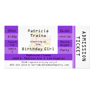 Purple Movie Night Party Admission Ticket Invite Picture Card