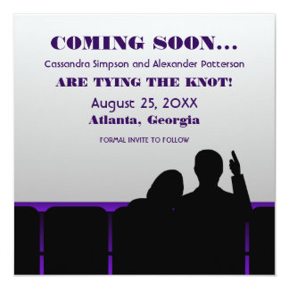 Purple Movie Theater Save the Date 13 Cm X 13 Cm Square Invitation Card