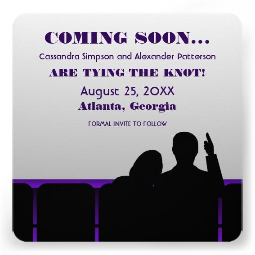 Purple Movie Theater Save the Date Announcements