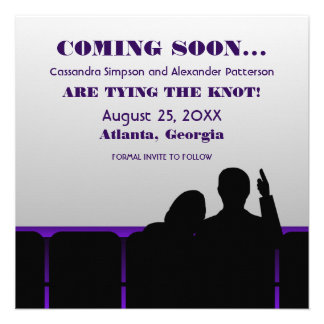 Purple Movie Theater Save the Date Personalized Announcement