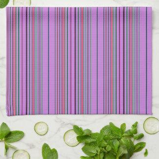 Purple Multicolored Stripes Tea Towel