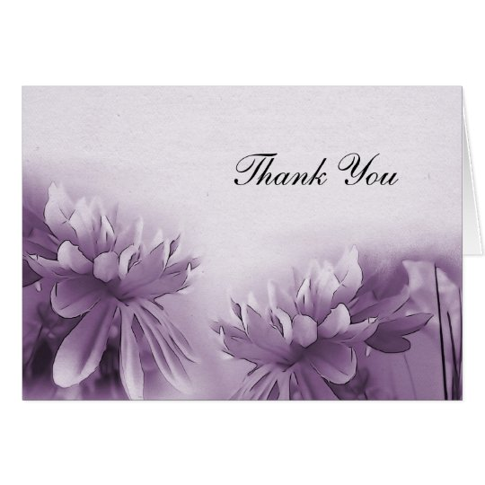 Purple Mums Notecard - Thank You
