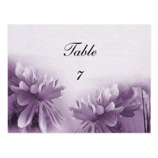 Purple Mums Table Card Postcard