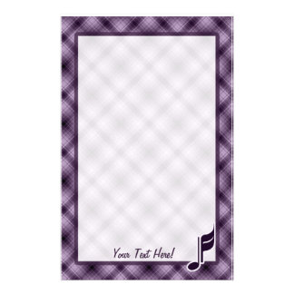 Purple Music Note Personalized Stationery