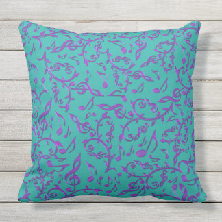 Purple Music Notes Customizable Color Patio Pillow