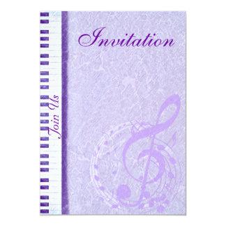 """Purple music notes & Keys_Invitation 5"""" X 7"""" Invitation Card"""