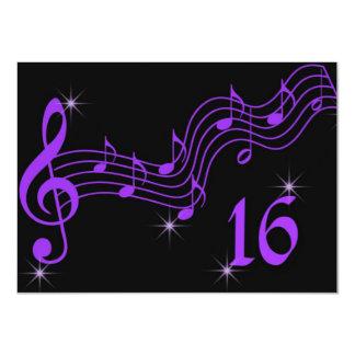 Purple Music Notes Sweet Sixteen Invitation