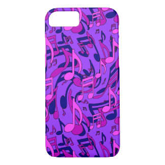 Purple Music Pattern Pink Musical Notes iPhone 8/7 Case