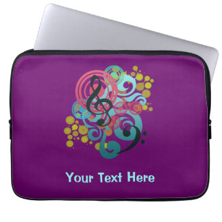 Purple Music Swirl custom laptop case Laptop Computer Sleeves