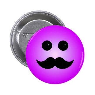 Purple Mustache Smiley Emoticon Buttons
