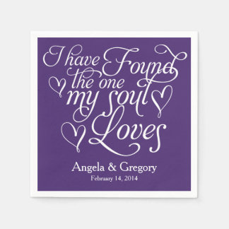 Purple My Soul Loves Heart Personalized Wedding Disposable Napkin