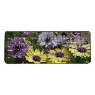 Purple N Yellow African Daisies Wireless Keyboard