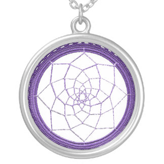 Purple Native American Dreamcatcher Silver Plated Necklace
