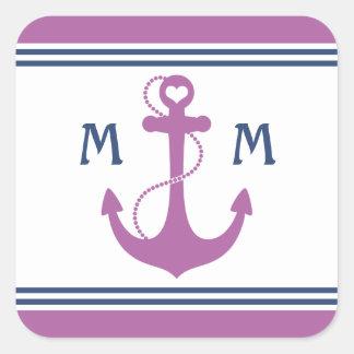 Purple Nautical Heart Anchor Monogram Square Sticker