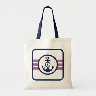 Purple Nautical Monogram Tote Bag