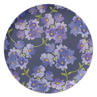 Purple & Navy Blue Floral Painted Pattern Plate