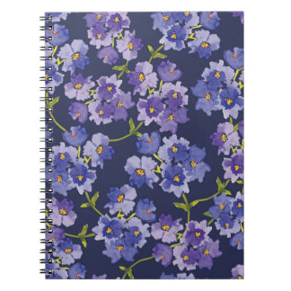 Purple & Navy Floral Watercolour Pattern Notebook