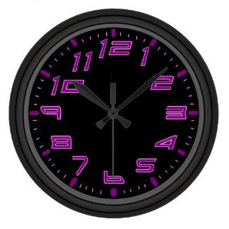 Purple Neon Nights Large Clock