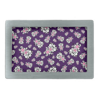 Purple nerd cow pattern rectangular belt buckles
