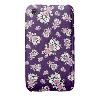 Purple nerd cow pattern iPhone 3 covers