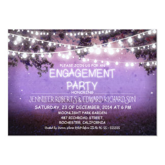 purple night & garden lights engagement party 13 cm x 18 cm invitation card