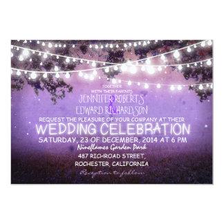 purple night & garden lights rustic wedding 13 cm x 18 cm invitation card