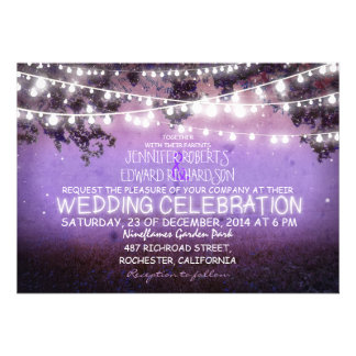 purple night garden lights rustic wedding personalized announcements