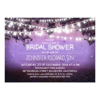 purple night lights bridal shower invitations