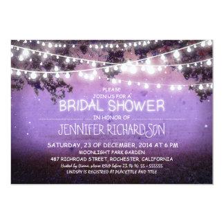 "purple night lights bridal shower invitations 5"" x 7"" invitation card"