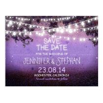 purple night lights romantic save the date
