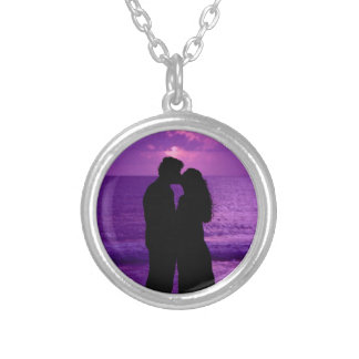 Purple Ocean sunset Kiss Silver Plated Necklace
