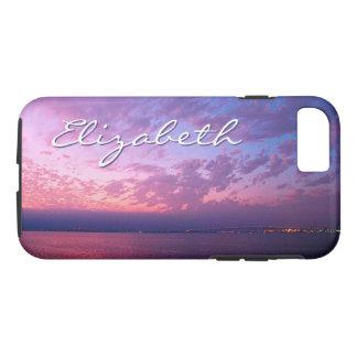 Purple ocean sunset photo custom name phone case