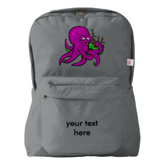 Purple Octopus Blowing on Some Green Bagpipes Backpack