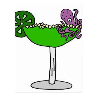 Purple Octopus in Margarita Glass Postcard