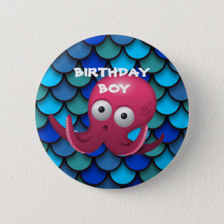 Purple Octopus on Blue Birthday Child Button