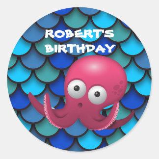 Purple Octopus on Blue Under the Sea Birthday Round Sticker