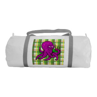 Purple Octopus Playing Green Bagpipes Gym Duffel Bag