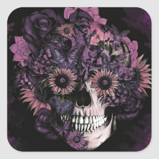 Purple ohm skull with paint splatters. square sticker