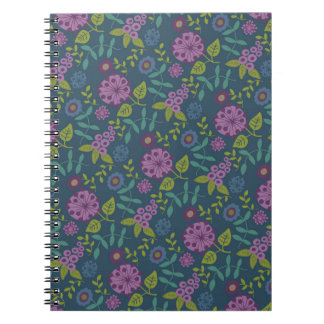 Purple Olive Green Mod Floral Flower Print Spiral Notebooks
