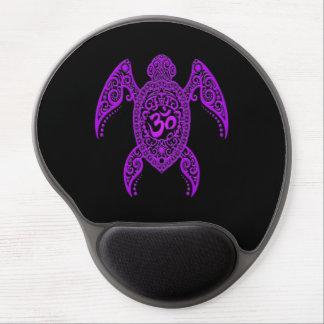 Purple Om Sea Turtle on Black Gel Mouse Pad